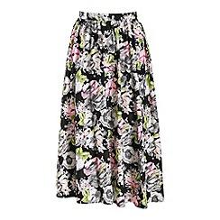 Cutie - Black printed knee length skirt