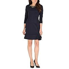 Jumpo London - Navy large diamond neck 3/4 length dress