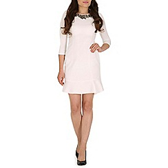 Jumpo London - Cream large diamond neck 3/4 length dress