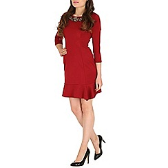 Jumpo London - Wine large diamond neck 3/4 length dress