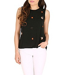 Jumpo London - Black sleeveless flower bead top