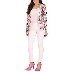 Jumpo London - Pink double zips flower print blazer