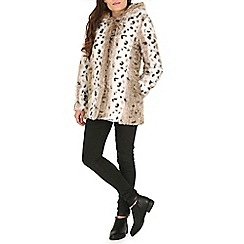 Jumpo London - Grey animal print faux fur hooded coat