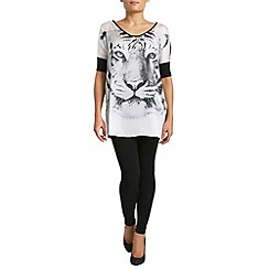Pussycat London - Black tiger face print top