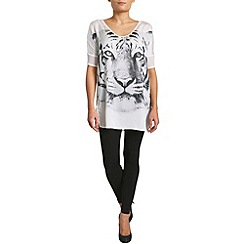 Pussycat London - White tiger face print top