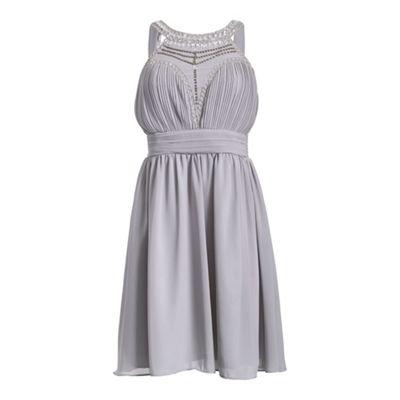 Chase 7 Grey sleeveless front jeweled maxi dress - . -