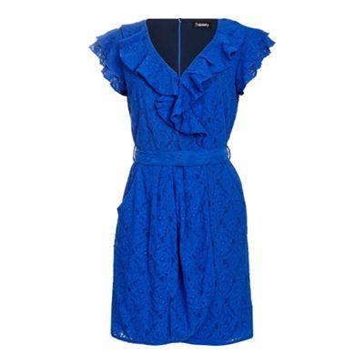 Ayarisa Blue black finola lace mock wrap tie dress - . -
