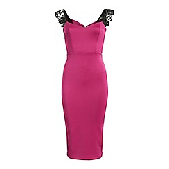 Jolie Moi - Pink eyelash lace shoulder bodycon dress