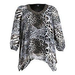 Samya - Grey animal print top