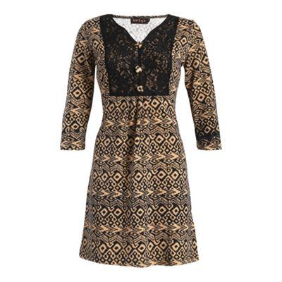 Amaya Black print tunic with lace yoke - . -