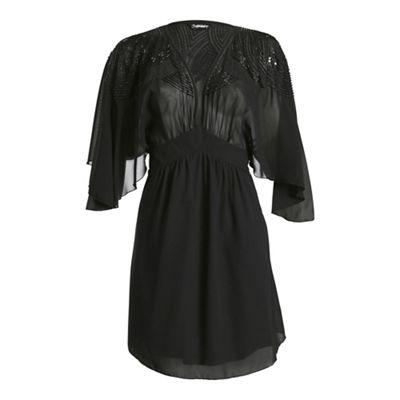 Ayarisa Black cheryl embellished cut-out kaftan dress - . -