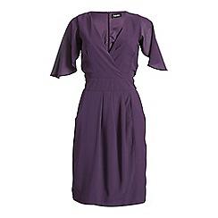 Ayarisa - Purple angel sleeve lizzie wrap belted dress