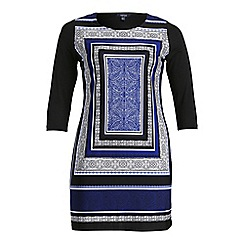 Samya - Multicoloured long sleeve art print dress