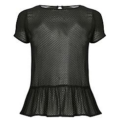 Threads - Black textured peplum tee