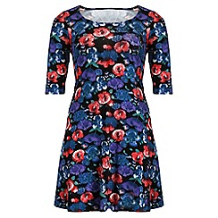 Threads - Multicoloured print 3/4 sleeve swing dress