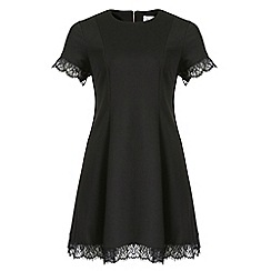 Threads - Black lace trim swing dress