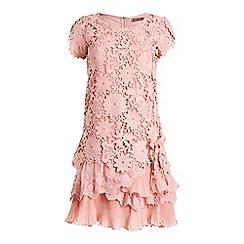 Jolie Moi - Mauve crochet lace tiered hem dress