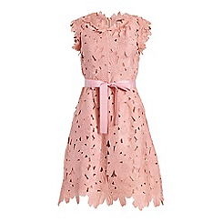 Jolie Moi - Light pink crochet lace fit & flare lace dress