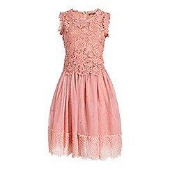Jolie Moi - Light pink crochet lace overlay mesh prom dress