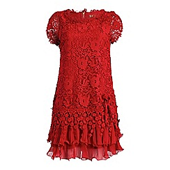 Jolie Moi - Red crochet lace cap sleeve layered dress