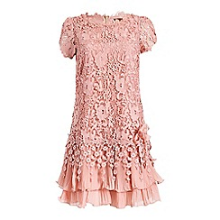 Jolie Moi - Pink crochet lace cap sleeve layered dress