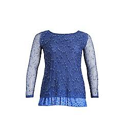 Samya - Blue long sleeve bobble knit top