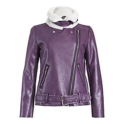 Izabel London - Purple long sleeve faux fur lined jacket