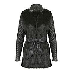 Jumpo London - Black contrast sleeve faux fur jacket