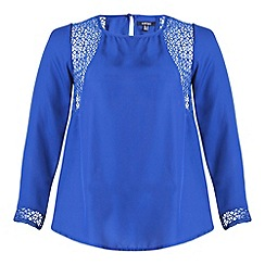 Samya - Blue long sheer sleeve detailed top