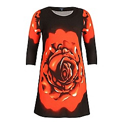 Samya - Multicoloured short sleeve poppy print dress