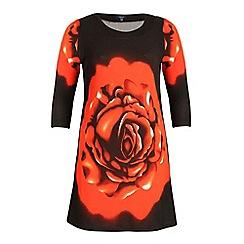 Samya - Multicoloured short sleeve poppy print dress