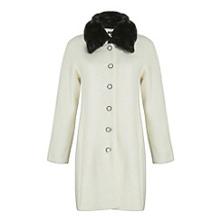 Cutie - Cream a-line faux fur collar coat
