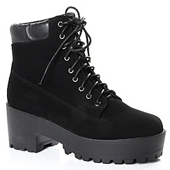 Alice & You - Black buckle strap chunky ankle boot