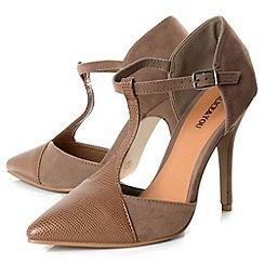Alice & You - Tan t-bar strap contrast heels