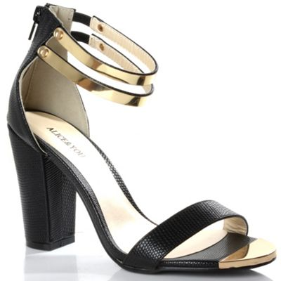 Alice & You Black metal trim ankle strap heels - . -
