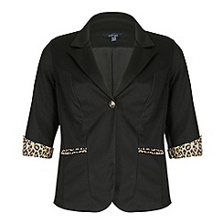 Samya - Black leopard detailed buttoned jacket
