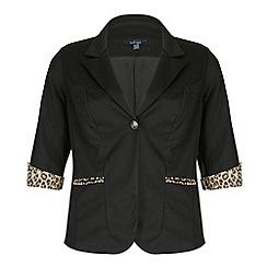 Samya - Black leopard detailed buttoned jacket