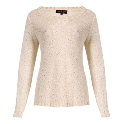Amaya Cream sparkly jumper with bow details - S/M. -