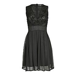 Pussycat London - Black mesh detail v-neck chiffon dress