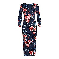 Ruby Rocks - Navy queenie hi neck midi