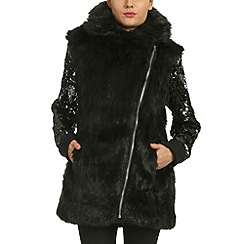 Alice & You - Black sequin sleeve faux fur coat