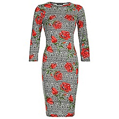 Indulgence - Red rose print midi dress