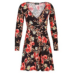 Indulgence - Brown floral skater dress
