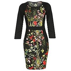 Indulgence - Black floral fleece midi dress