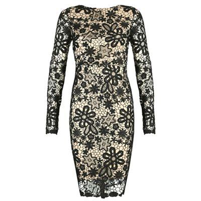 Chase 7 Black long sleeve lace open back dress - . -