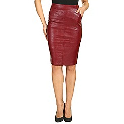 Alice & You - Dark red pu pencil skirt