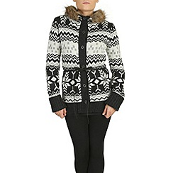 Izabel London - Multicoloured hooded aztec knitted cardigan