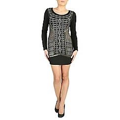 Izabel London - Black long sleeve embellished aztec dress