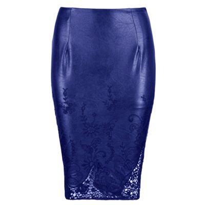 Chase 7 Blue midi cut out hem embrodied skirt - . -
