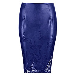 Chase 7 - Blue midi cut out hem embrodied skirt